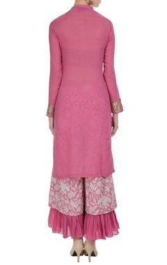 Pink & cream embroidered kurta set