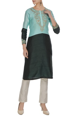 Green & turquoise color block embroidered kurta