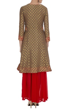 Coral & clay-brown gold motif kurta with gharara pants & dupatta