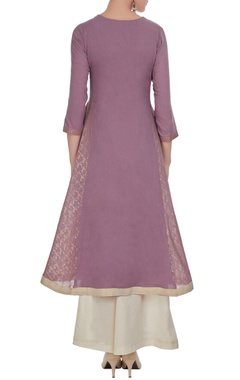 Purple high low hand printed kurta with palazzos