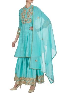 Aqua blue machine embroidered kurta & gharara set
