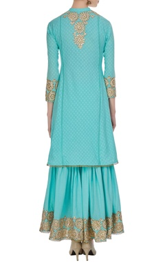 Aqua blue machine embroidered kurta & gharara set