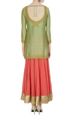 Green & coral cotton chanderi kurta with flared skirt & dupatta