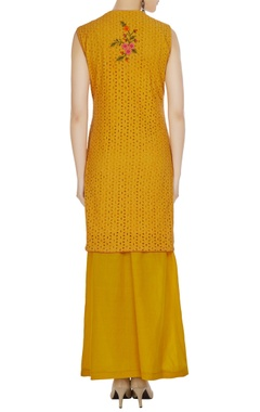 Mustard yellow sleeveless kurta with palazzos & dupatta