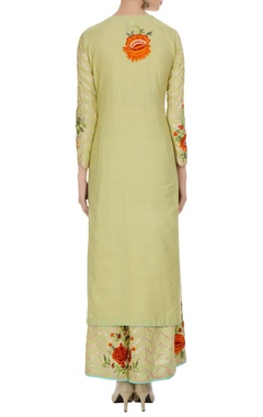 Lime green kurta set in multicolored floral embroidery