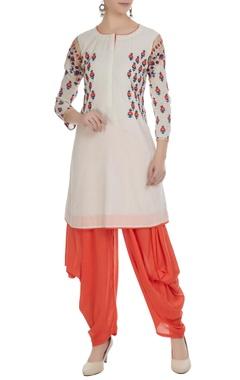 White & orange chanderi machine embroidered kurta with dhoti pants