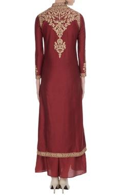 Maroon gota embroidered chanderi kurta set