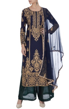 Blue embroidered chanderi kurta & palazzo set