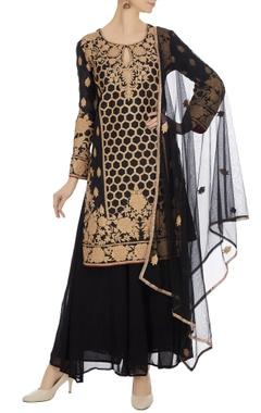 Black machine embroidered kurta with palazzos & dupatta