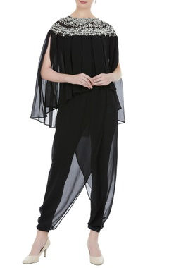 Preeti S Kapoor Black georgette pearl embroidered & pleated blouse with black satin lyra dhoti pants