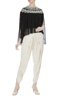 Preeti S Kapoor Black georgette pearl embroidered pleated blouse with cream crepe dhoti pants