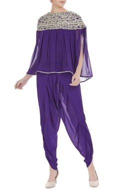 Preeti S Kapoor Purple georgette pearl embroidered pleated blouse with purple crepe dhoti pants