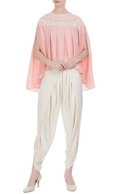 Preeti S Kapoor Light pink georgette pearl embroidered pleated blouse with cream crepe dhoti pants