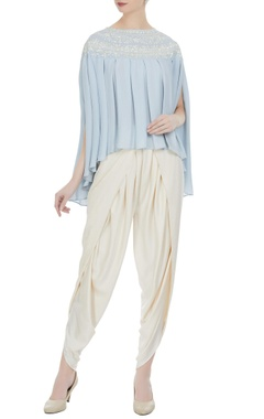 Preeti S Kapoor Light blue georgette pearl embroidered pleated blouse with cream crepe dhoti pants