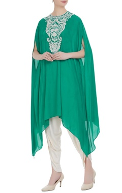 Preeti S Kapoor Teal green georgette pearl embroidered tunic with cream dhoti pants