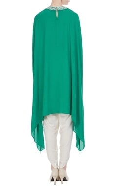 Teal green georgette pearl embroidered tunic with cream dhoti pants