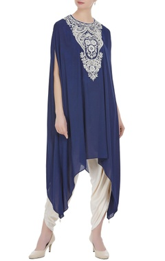 Preeti S Kapoor Blue georgette pearl embroidered tunic with cream dhoti pants