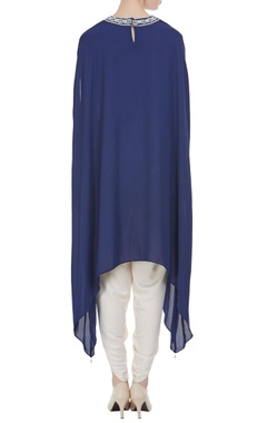 Blue georgette pearl embroidered tunic with cream dhoti pants