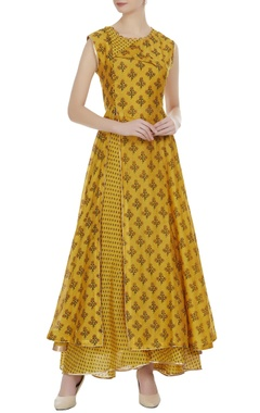 Mustard yellow chanderi floral printed anarkali with palazzos