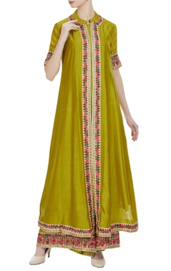Aksh Green chanderi embroidered jacket, kurta & palazzos