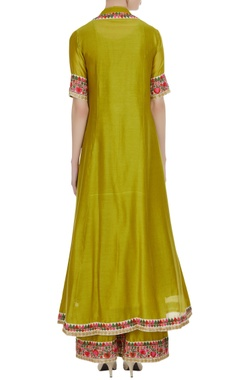 Green chanderi embroidered jacket, kurta & palazzos