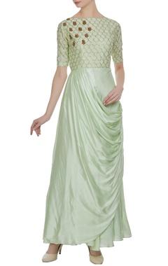 Green silk zardozi & sequin pleated style long kurta