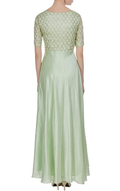 Green silk zardozi & sequin pleated style long kurta