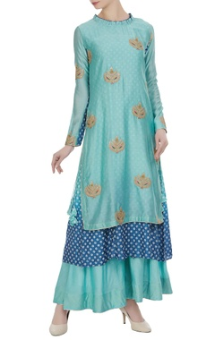 Aksh Blue zari embroidered ruffle neckline kurta with inner anarkali & palazzos