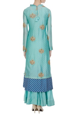 Blue zari embroidered ruffle neckline kurta with inner anarkali & palazzos