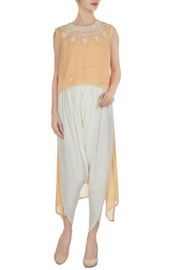 Preeti S Kapoor Light peach georgette pearl embroidered flared kurta with crepe pants