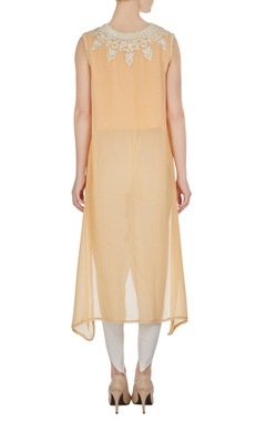 Light peach georgette pearl embroidered flared kurta with crepe pants