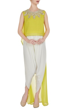 Preeti S Kapoor Yellow georgette gota embroidered flared kurta with crepe pants