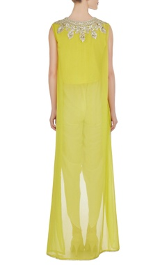 Yellow georgette gota embroidered flared kurta with crepe pants
