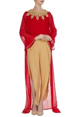 Preeti S Kapoor Red georgette gota embroidered flared kurta with crepe pants