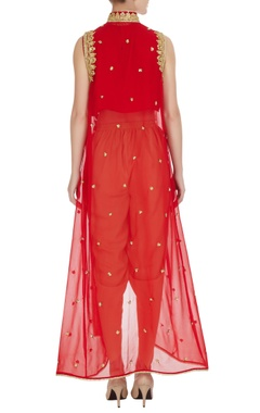 Red georgette gota embroidered  fusion kurta with crepe pants