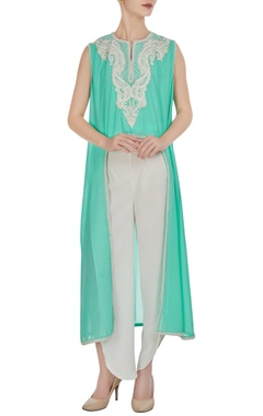 Preeti S Kapoor Aqua blue georgette pearl embroidered flared kurta with crepe pants