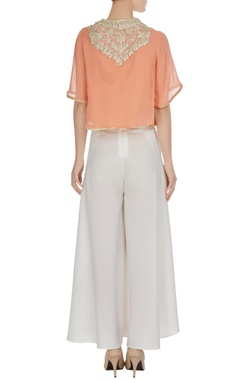 Peach georgette gota embroidered blouse with crepe pants