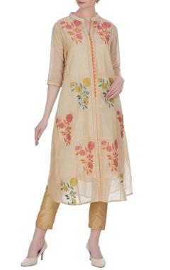 Jajobaa Jute chanderi banarasi thread embroidered floral kurta