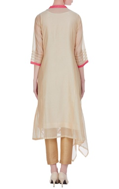 Chanderi floral embroidered draped side kurta