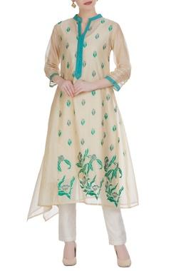 Chanderi floral embroidered draped side kurta