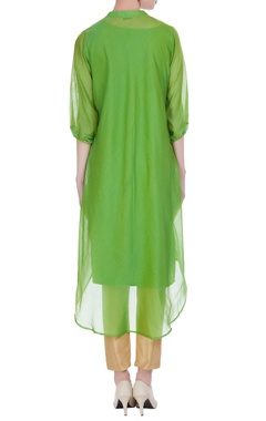 Chanderi floral thread embroidered kurta