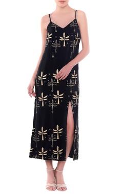 Masaba Black palm tree motif slip dress with thigh-high slit