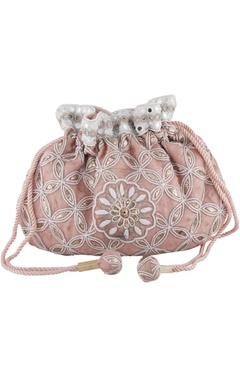 Anjul Bhandari - Accessories Pink silk mukaish & mirror hand embroidered potli