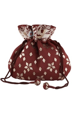 Anjul Bhandari - Accessories Maroon silk mukaish & parsi gara hand embroidered potli