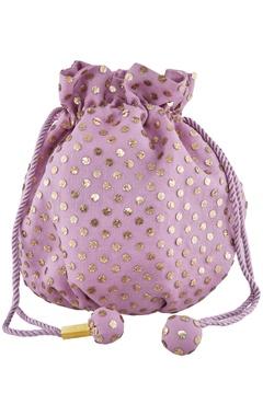 Anjul Bhandari - Accessories Purple silk mukaish hand embroidered potli