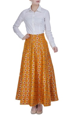 Multicolored brocade flared skirt