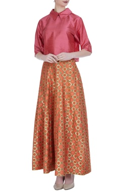 Brocade silk blouse with multicoloured maxi skirt