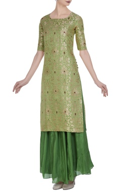 Brocade silk floral kurta with flared skirt