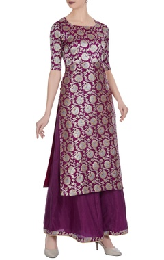 Brocade silk kurta with pants