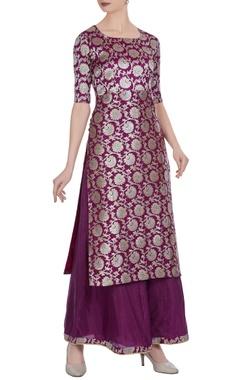 Brocade silk kurta with pants